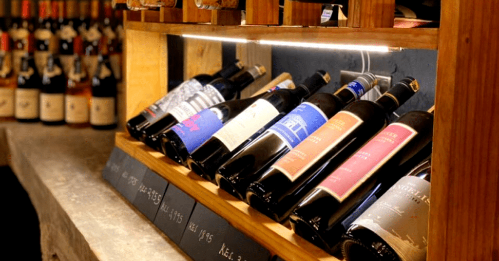 Quality wines on sale displaying different prices